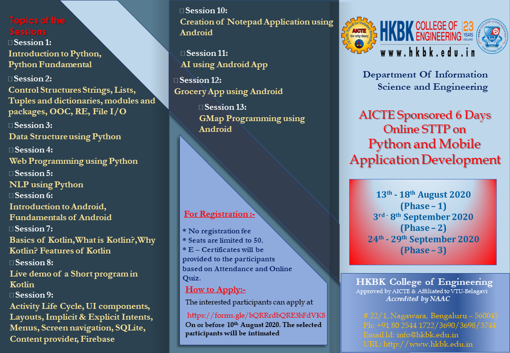 "AICTE Sponsored STTP Program on ""Python and Mobile Application Development"""